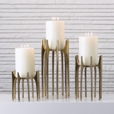 Aguado Pillar Candleholders | Antique Brass