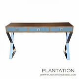 Alexander Console Table, Walnut w/Painted Drawers