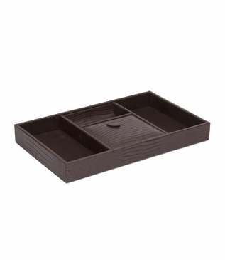 Argus Leather Valet Tray | Brown Lizard