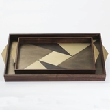 Avecko Wood & Brass Inlaid Tray