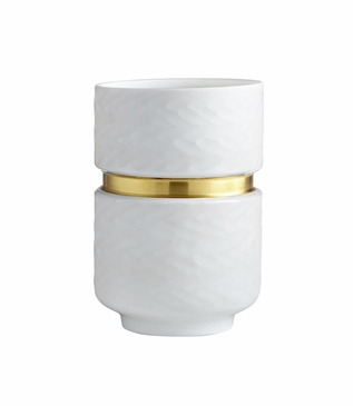 Baltic White Glass Vase | Short