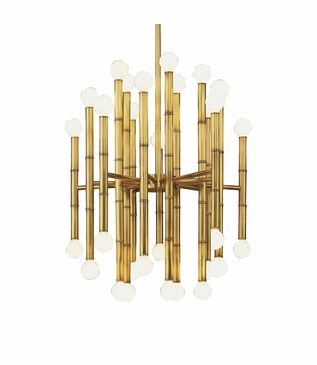 Bamboo Metal Chandelier | Aged Brass