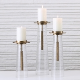 Barrett Seeded Glass Candleholders | Brass