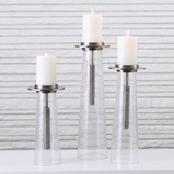 Garrett Seeded Glass Candleholders | Nickel