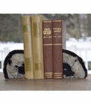 Barrick Agate Bookends | Black w/Silver Trim