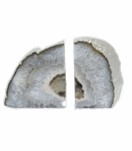 Barrick Agate Bookends | Natural w/Silver Trim