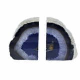 Barrick Agate Bookends | Purple w/Silver Trim
