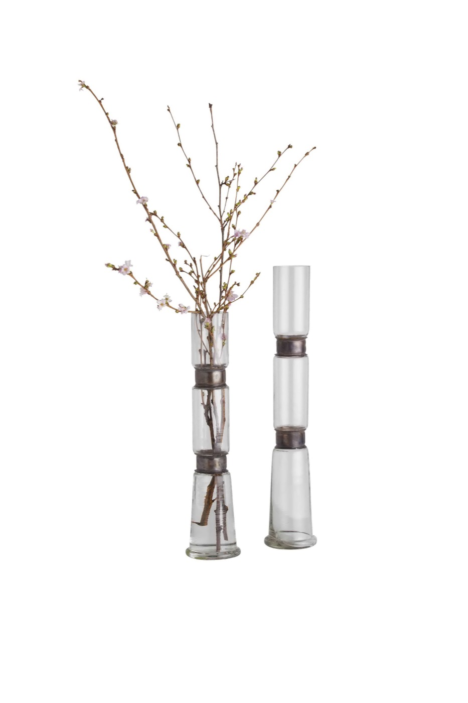 Belted Narrow Glass Vases Plantation Design