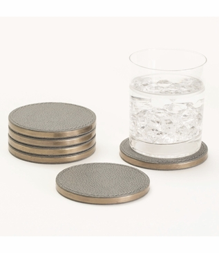 Brentwood Leather Coaster Set | Slate