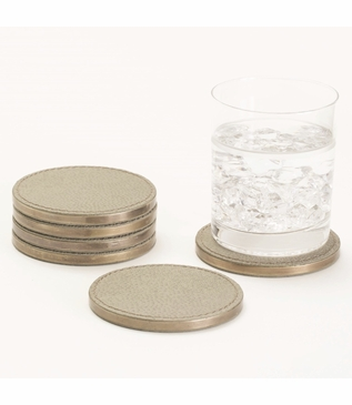 Brentwood Leather Coaster Set | Taupe