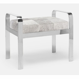 Cadiz Bench | Silver & Grey Hide