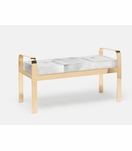 Cadiz Double Bench | Gold & Grey Hide