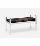Cadiz Double Bench | Silver & Brown Hide