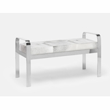 Cadiz Double Bench | Silver & Grey Hide