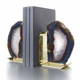 Carlsbad Agate Bookends | Brass