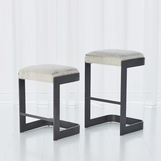 Carter Hide Bar Stools | Grey Steel