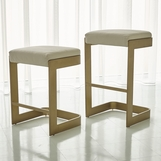 Carter Leather Bar Stools | Antique Brass
