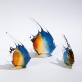 Caspian Glass Fish Sculptures | Amber & Blue