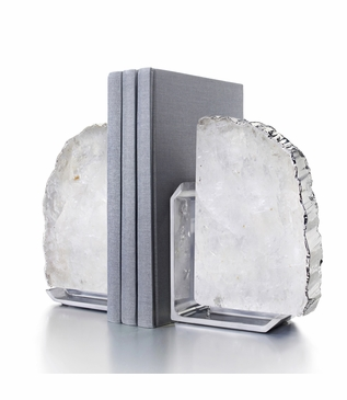 Caverna Bookends | Crystal & Silver