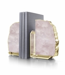 Caverna Bookends | Rose Quartz & Gold