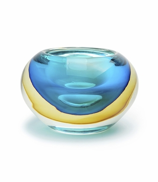 Chico Glass Bowl | Blue & Gold