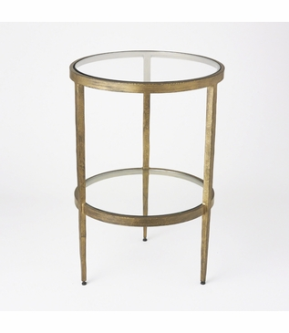 Corbett Round Side Table | Antique Gold