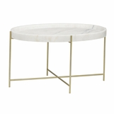 Cosette Stone Coffee Table | Brass