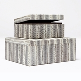 Diamondback Snakeskin Boxes | Set of 2