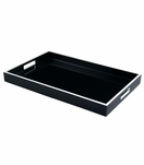 Ellie Rectangular Lacquered Trays | Black w/White Trim