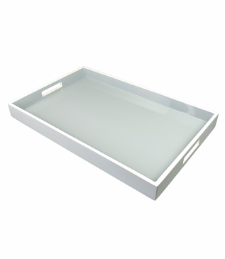 Ellie Rectangular Lacquered Trays | Grey Mist