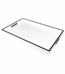 Ellie Rectangular Lacquered Trays | White w/Black Trim