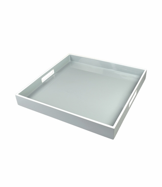 Ellie Square Lacquered Tray | Grey Mist