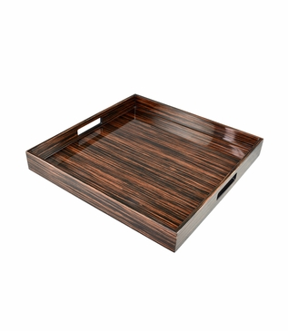 Ellie Square Lacquered Tray | Macassar