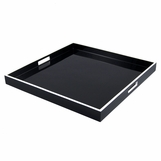Ellie Square Lacquered Trays | Black w/White Trim