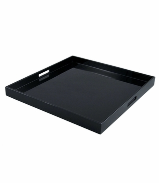 Ellie Square Lacquered Trays | Solid Black