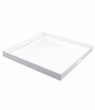 Ellie Square Lacquered Trays | Solid White