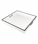 Ellie Square Lacquered Trays | White w/Black Trim