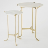 Essie Tall Side Table | Brass & Marble