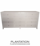 Frank 12-Drawer Dresser, Painted w/Fabric Fronts