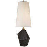 Faceta Black Marble Lamp | Linen Shade