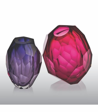 Fritz Faceted Glass Vases | Colorful