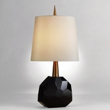 Gem Crystal Table Lamp | Black & Brass