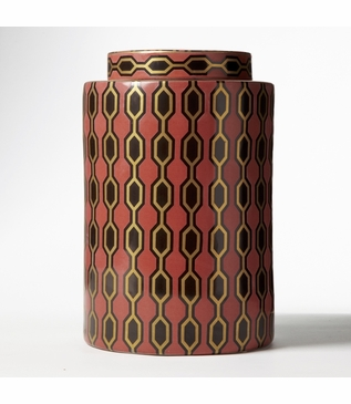 Geometric Porcelain Jar | Red