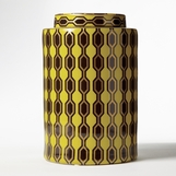 Geometric Porcelain Jar | Yellow