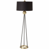 Haley Black & Brass Floor Lamp | Black Shade