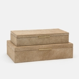 Halsey Boxes Set | Beige Hide