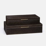 Halsey Boxes Set | Brown Hide