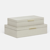 Halsey Boxes Set | Grey Leather