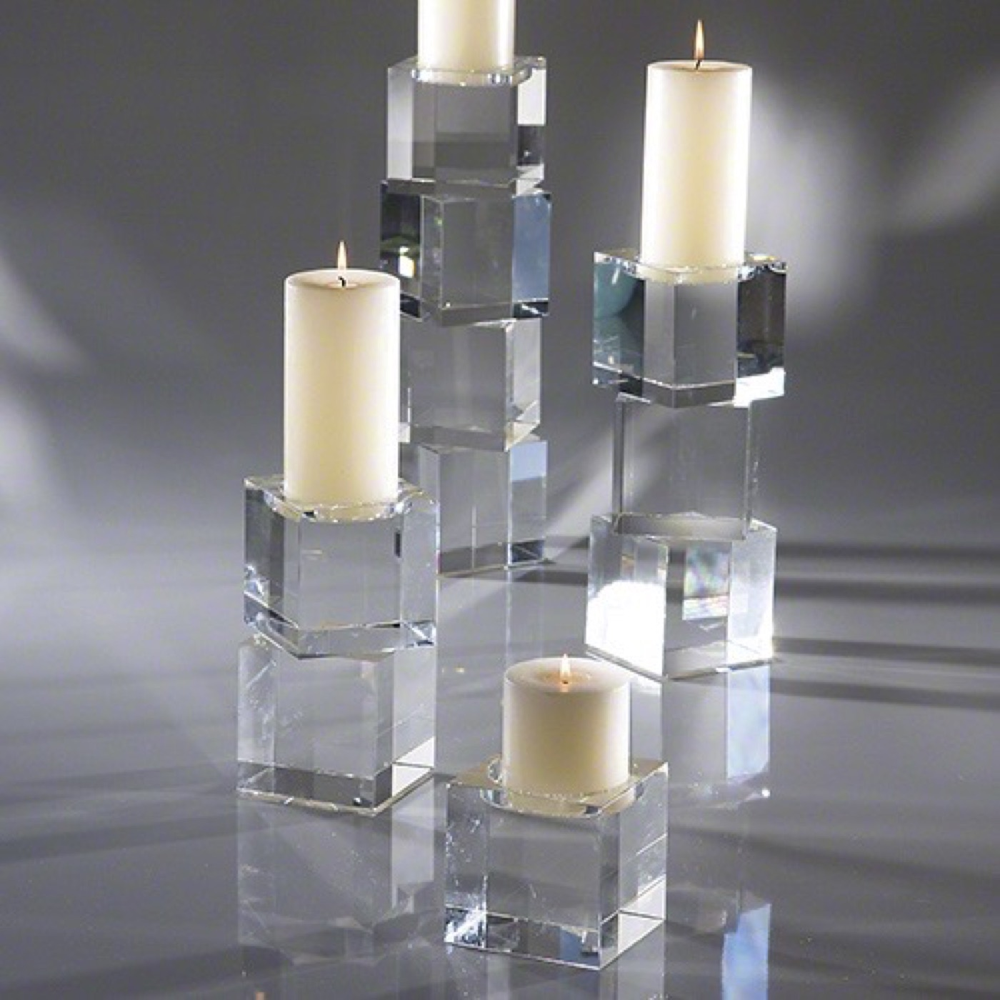 Ice Cube Crystal Candleholders Plantation Design