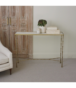 Jahari Marble Console Table   Brass